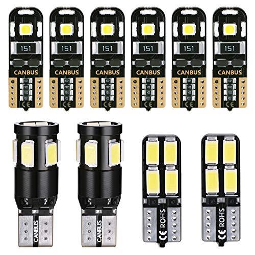 LUMENEX T10 W5W LED Lampadine CANBUS 194 168 2825 555 501 per Auto Luci di Posizione, Luce Targa Lampadine Tettuccio Luce di Indicatore Laterale Bianca 10 Pezzi