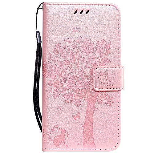 Tosim Xiaomi Redmi Go Hülle Leder, Klapphülle mit Kartenfach Brieftasche Lederhülle Stossfest Handyhülle Klappbar Case für Xiaomi Redmi Go - TOKTU080526 Rosa Gold