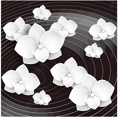 Fr Kinder Wohnzimmer Vektor Kunst Schwarzweiss Abstrakte Blume 3D Boden-400 * 280Cmhome Decoration Moistureproof Waterproof Sound Absorptioncustom