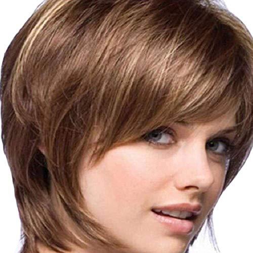 Yuyanshop Pelucas rizadas cortas de color marrón para mujer peluca esponjosa natural para mujeres Pelucas en capas con flequillo (marrón)
