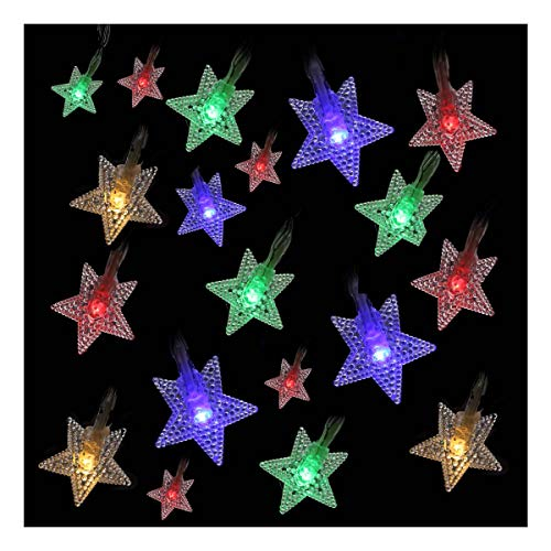 Szxc Star String Lights - 20 FT 40 Led Lights - Battery Operated - Thanksgiving Christmas Decorations Indoor - Multi-Color