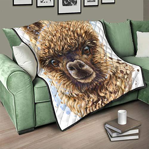 Colcha de alpaca, manta 3D digital, sillón blanco, 130 x 150 cm