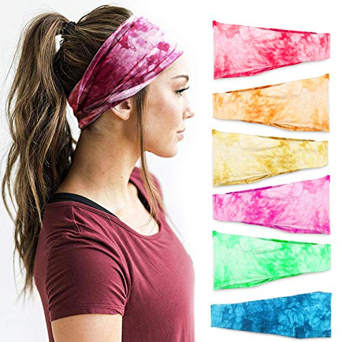 Headbands For Women 6 PCS Yoga Running Sports Cotton Headbands Tie Dye Elastic Non Slip Sweat Headbands Workout Fashion Hair Bands for Girls