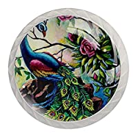 引き出しノブプルハンドル4個 クリスタルガラスのキャビネットの引き出しは食器棚のノブを引っ張る,ヴィンテージ孔雀の羽の尾のバラ