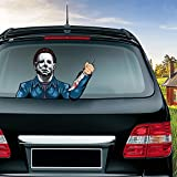MIYSNEIRN Rear Window Wiper Decal Halloween Masked Killer Michael Myers Waving Wiper Sticker 3D Funny Vinyl Bumper Windshield Sticker Waterproof Car Wiper Decal for Rear Wiper Vehicle Tags Decor