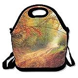 Bolsas de almuerzo aisladas, de neopreno, reutilizables, grandes y resistentes al agua, para viajes al aire libre, trabajo, carretera, estación forestal, otoño, paisaje natural personalizado