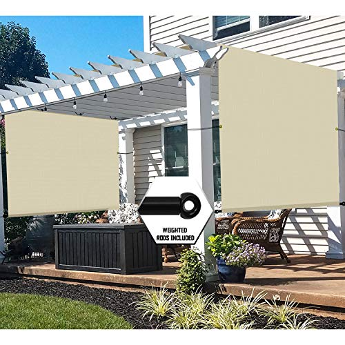 TANG 16' x 8' Outdoor Universal Pergola Replacement Cover Canopy Waterproof with Grommets Weight Rods Sun Shade Panel for Patio Backyard Beige
