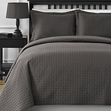 Extra Lightweight and Oversized Comfy Bedding Frame Embossing 3-piece Bedspread Coverlet Set (King/California King, Grey)