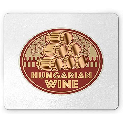 Ungarn Mouse Pad,Vintage Ungarischen Wein Text Briefmarke Wie Kulturelle Ernte Nostalgischer Geschmack,Rechteck Rutschfeste Gummi Mousepad,Standardgröße,Roter Senf Und Beige