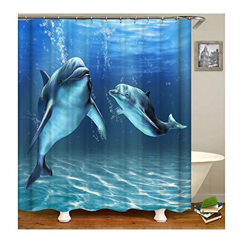 ANAZOZ Duschvorhänge Anti-Schimmel,Wasserdicht Waschbar Badezimmer Vorhang Antibakteriell, Bad Vorhang für Dusche Inkl. 12 Duschvorhangringen Delphin Duschvorhang aus Polyester 165X200cm Z2062