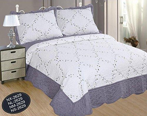 Forentex sprei voor bed met 135 cm, geborduurd met bloemenpatroon, decoratief, stijl met volant, 2 kussenslopen, 70 cm, Ref. NM-2611, grijs, 235 x 260 cm