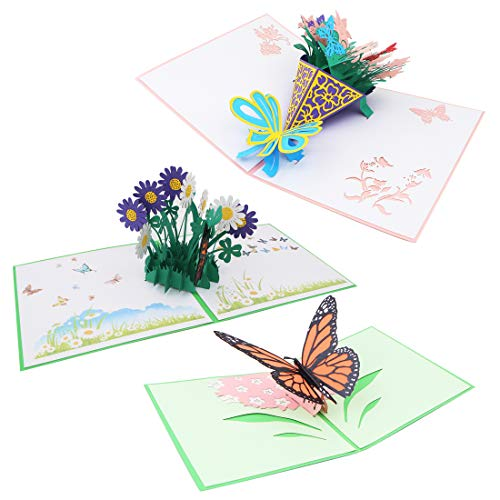 3 Pcs Creative 3D Pop Up Greeting Cards Flower and Butterfly Craft Card with Envelope For Birthday Thanksgiving Day Mother's Day Christmas Greeting Card