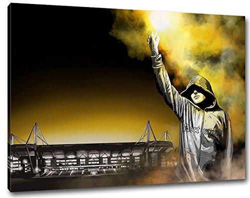 Ultras-Art Dortmund Pyro Kunst Stadion, Bild auf Leinwand XXL, fertig gerahmt, 100 x 70 cm