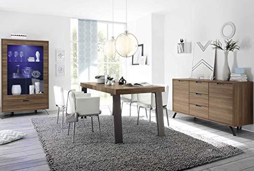 LIGNEMUBLE LYROY Nogal - Conjunto de mesa de comedor industrial con vitrina + enfilade 2 puertas 3 cajones + mesa de comedor con 170 patas de metal