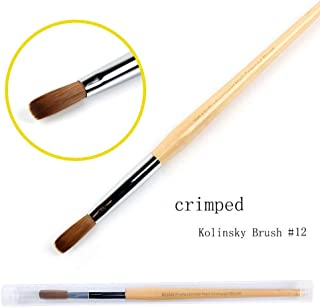 BQAN Kolinsky Crimped Acrylic Nail Brush #12 - Professional Pure Sable Hair Wooden Handle Crimped brush for Manicure Powder Pedicure