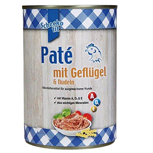 Schecker Schecko fit 12 x 400g Cremiges Paté Nassfutter mit Geflügel & Nudeln, Nassfutter