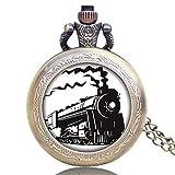 LEYUANA Reloj de Bolsillo de Cuarzo para Hombres y Mujeres, Serie de Motores de Locomotora Delantera de Tren de Bronce Retro, Relojes de Cadena, Collar de Cadena Colgante, Regalo de Recuerdo 5