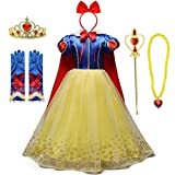 IZKIZF Girls Snow White Princess Costume Birthday Halloween Christmas Party Cosplay Fancy Dress Up Outfits w/Accessories 4-5T