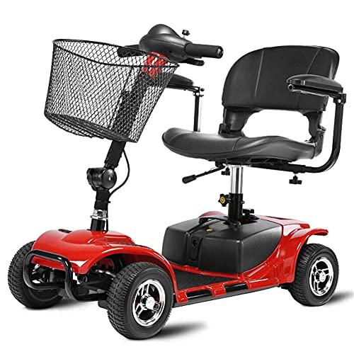Ligero y Compacto, Plegable, Scooter eléctrico de Movilidad y Viaje eléctrico de 4 Ruedas, Scooter transportable de Servicio Pesado, Capacidad de Peso 100 kg, Azul
