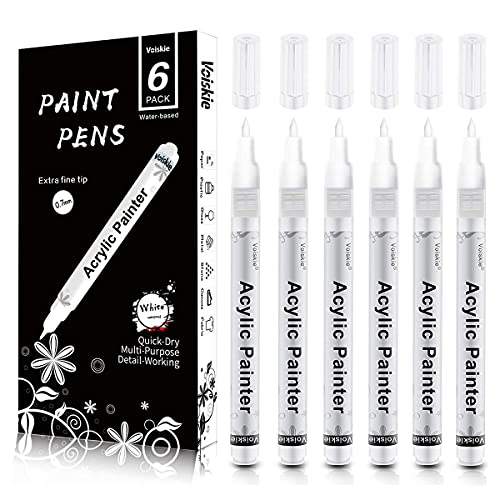Paint Pens White Marker 6 Pack,0.7mm Acrylic White Permanent Marker,White Paint Pens for Rock Painting Stone Ceramic Glass Wood Plastic Glass Metal Canvas Water-based Extra Fine Point