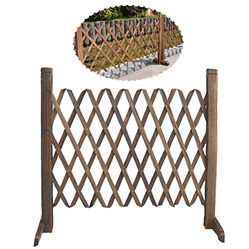 mysticall Tragbarer, Stabiler, sicherer, versenkbarer Babytor-Zaun Erweiterbarer hölzerner Sicherheitstorzaun für Treppen/Türen oder Terrassengarten-Rasendekoration