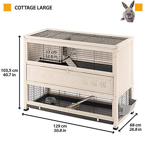 Ferplast Kaninchenstall Cottage Large, Indoor-Nagerstall aus Holz, Maße: 129 x 68 x 103,5 cm - 3