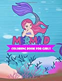 Mermaid Coloring Book For Girls: 50 Cute Underwater Mermaid Cartoon Picture Coloring Pages for Kids Ages 4-8, 8-12