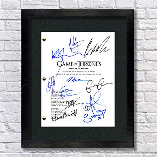 Game of Thrones Cast Autographed Signed Reprint 8.5x11 Script Framed 13x15 - EP 609 - Kit Harington Emilia Clarke Maisie Williams Sophie Turner Peter Dinklage Lena Headey George RR Martin
