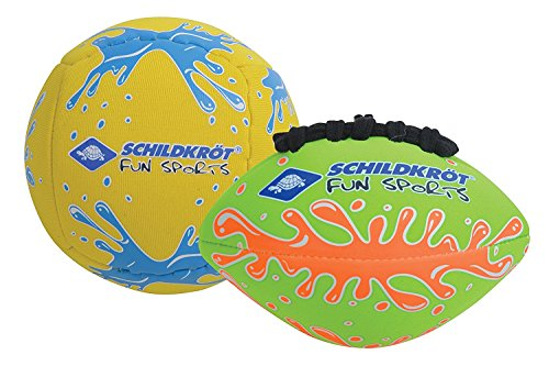 Schildkröt Mini-Ball-Duo Pack, Set bestehend aus 1 Volley und 1 American Football, Ø 9 cm, griffig und salzwasserfest, ideal für Strand und Wasser, 970282