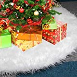 LoiStu 30 Inch Christmas Tree Skirt White Plush Tree Skirt Faux Fur Luxury Tree Skirts for...
