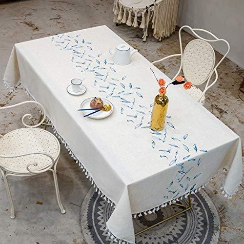 XXDD Mantel de decoración de Hojas Bordadas con Borla Impermeable y Resistente al Aceite Mesa Rectangular Gruesa y Mantel de té A1 140x200cm