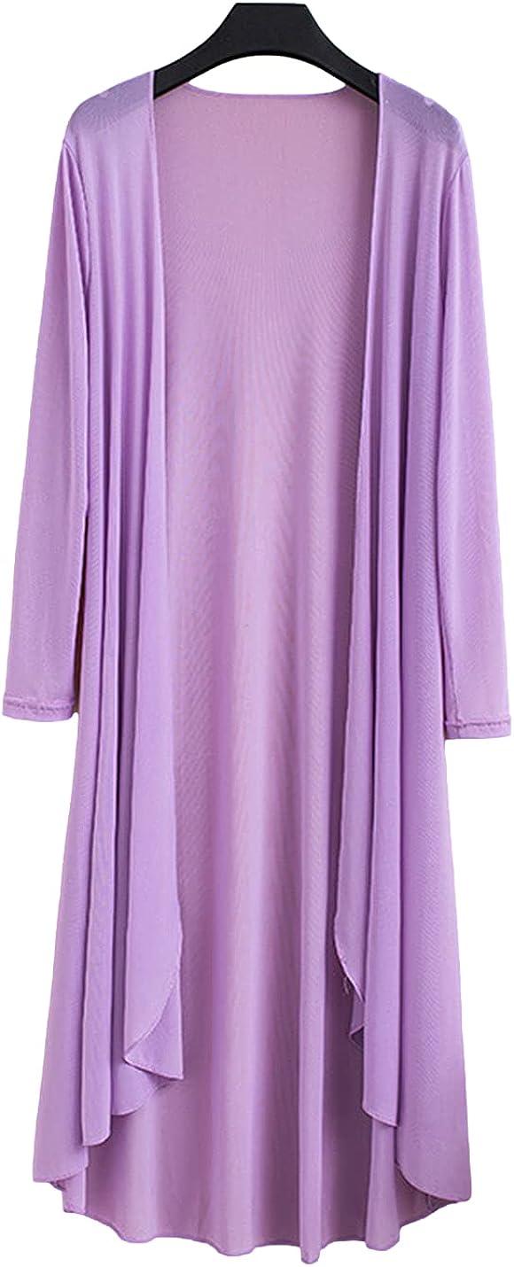 FindThy Women's Long Knit Cardigan Sheer Knee Length Open Front Duster Kimono Blouse