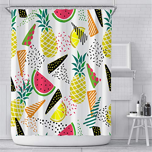 KYFY Shower Curtain Liner Cute Colorful Water Resistant Bath Watermelon Printed Bathroom Waterproof Bathroom Curtains Bathroom Decor Set with Hooks 72x72 Inches Watermelon