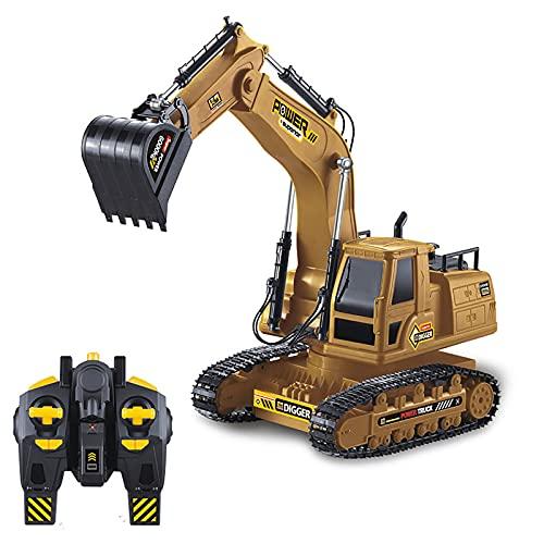 RC Excavadora, Vehículos de construcción RC de para Niños con Batería Recargable Control Remoto, Tractor de construcción Incluyey Cargador USB Luces y Sonido