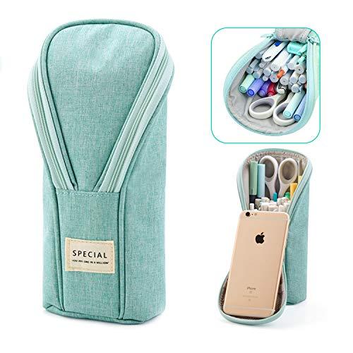 HENGBIRD Estuche para niñas y adolescentes, con cremallera, para teléfono móvil, de pie, grande, para lápices, con cremallera, color verde
