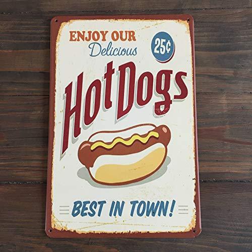 HOT DOG teken Beste eten in de stad teken Geniet van onze heerlijke Yummy bar menu en variëteiten van voedsel Home bar decor Brood liefhebber