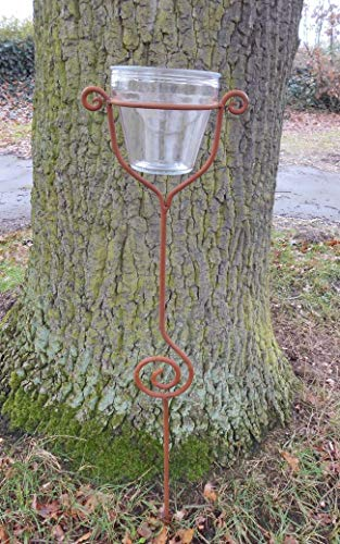 Deko-Impression Stabiler Gartenstab Gartenstecker Beetstab Eisen Rost mit Glas 118 cm