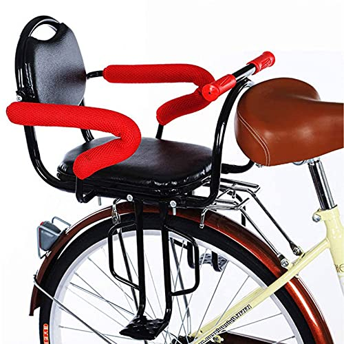 Child Bicycle Seat Rear Mount Beach Cruiser, Rear Frame Mounted Baby Bike Seats Kids Safety Bike Rear Seat Removable with Non-Slip Armrests and Pedals Padded Seat Belt