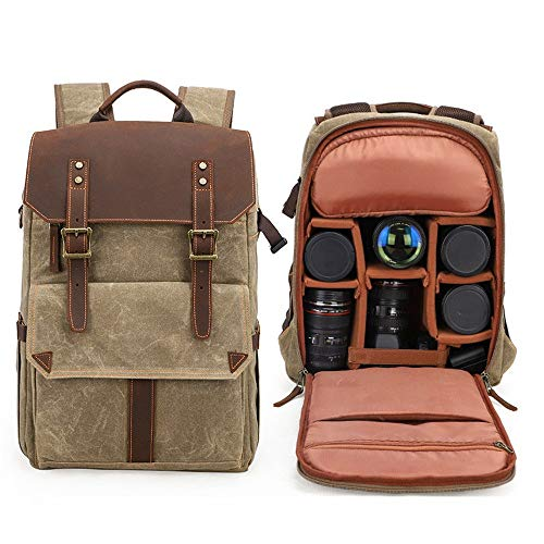 ChengBeautiful Camera Backpack Photography Bag Camera SLR Shoulder Photography Backpack Waterproof Large Capacity Wax Dye Canvas Backpack Outdoor Bag (Color : Khaki, Size : 31x18x45cm)