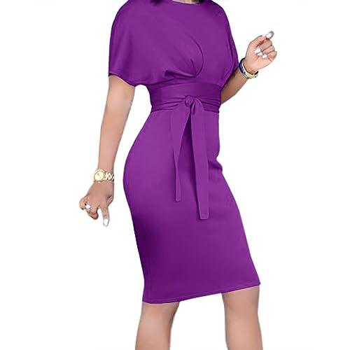 7f0c5845f97 Geckatte Womens Work Pencil Dresses Summer Casual Short Sleeve Party Midi  Dress with Belt