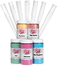 Cotton Candy Express 5 Flavor Floss Sugar Fun Pack with Lime, Watermelon, Pina Colada, Blue Raspberry, & Pink Vanilla Sugar and Cones