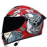 Bluetooth Casco Para Motocicleta Full Face,ECE Certificación Carreras de Cara Completa Aprobado por el Con Visera Para Hombres Mujeres Y Adultos C,S