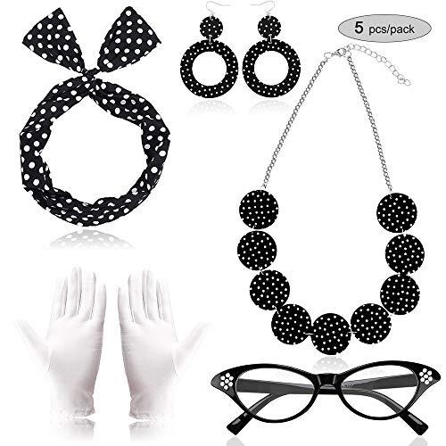 Meilo 50er Jahre Kostüm Accessoires, Damen 1950s Zubehör Set Inklusive Haarband Polka Dots Bandana Ohrringe Katzenaugen Sonnenbrille Halsketten