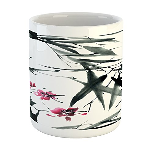 Ambesonne Japanese Mug Natural Bamboo Stems Cherry Blossom Japanese Inspired Folk Print Ceramic Coffee Mug Cup for Water Tea Drinks 11 oz Green Fuchsia