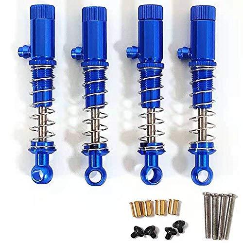 4 amortiguadores de radiocontrol, presión de aceite de metal, ajustables, compatibles con WPL MN 1/24 RC Car r612b amortiguadores hidráulicos azules (4 unidades).