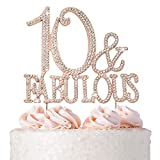 10 Cake Topper - Premium Rose Gold Metal - 10 & Fabulous - 10th Birthday Party Sparkly Rhinestone Decoration Makes a Great Centerpiece - Now Protected in a Box