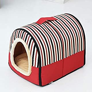 Dog Kennel Removable & Washable Pet Bed Autumn Winter Pet Supplies, Specification: L High Quality (Color : Red Stripes)
