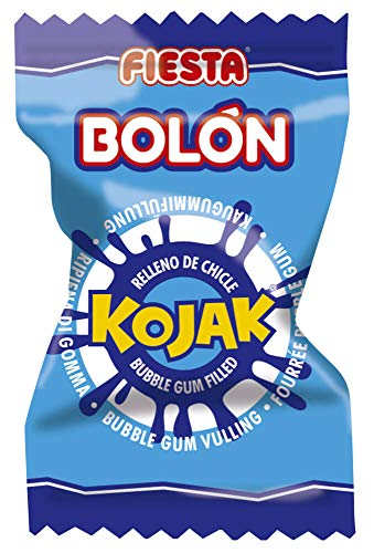 FIESTA Bolón Kojak Pintalenguas Caramelo Duro Sabor Mora Relleno de Chicle - Caja de 150 unidades