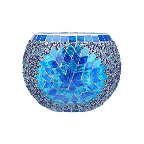 OSALADI Votiv Kerzenhalter Mosaik Gläser Romantische Kerzenhalter Schüssel Glas Teelichthalter für Hausferien Hochzeit Dekor Blau