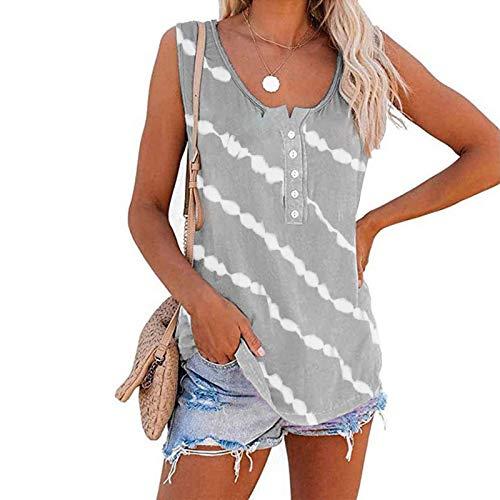 여성용 튜닉 블라우스 스트라이프 프린트 버튼 라운드 넥 라인 티 민소매 티셔츠 여름 루즈 피트 트렌디 탑스 STREETWEAR